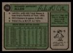 1974 Topps #70   Dick Allen Back Thumbnail