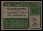 1974 Topps #436   Don Hood Back Thumbnail