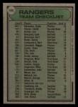 1979 Topps #499  Rangers Team Checklist  -  Pat Corrales  Back Thumbnail