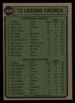 1974 Topps #208  1973 Leading Firemen    -  John Hiller / Mike Marshall Back Thumbnail
