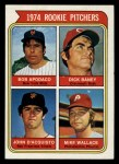 1974 Topps #608 ERR  Rookie Pitchers    -  Dick Baney / John D'Acquisto / Mike Wallace / Bob Apodaca Front Thumbnail