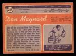 1970 Topps #254  Don Maynard  Back Thumbnail