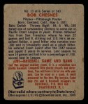 1949 Bowman #13   Bob Chesnes Back Thumbnail
