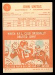 1963 Topps #1  Johnny Unitas  Back Thumbnail