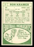 1968 Topps #51   Ron Kramer Back Thumbnail