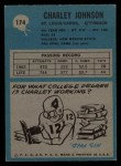 1964 Philadelphia #174   Charley Johnson  Back Thumbnail
