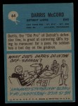 1964 Philadelphia #64   Darris McCord Back Thumbnail