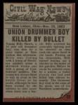1962 Topps Civil War News #55  The Silent Drum  Back Thumbnail