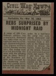 1962 Topps Civil War News #36  Midnight Raid  Back Thumbnail