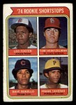 1974 Topps #607   Rookie Shortstops    -  Leo Foster / Tom Heintzelman / Dave Rosello / Frank Taveras Front Thumbnail