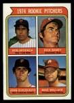 1974 Topps #608 COR  Rookie Pitchers    -  Dick Baney / John D'Acquisto / Mike Wallace / Bob Apodaca Front Thumbnail