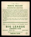 1933 Goudey #111  Monte Weaver  Back Thumbnail