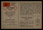 1954 Bowman #97 COR  Tom Finnan Back Thumbnail