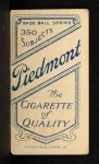 1909 T206 #390 THR Jake Pfiester / Misspelled as Pfeister  Back Thumbnail