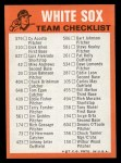 1973 Topps Blue Team Checklists  Chicago White Sox  Back Thumbnail