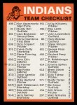 1973 Topps Blue Team Checklists #8   Cleveland Indians Back Thumbnail