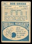 1968 Topps #196   Bob Griese Back Thumbnail