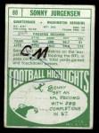 1968 Topps #88   Sonny Jurgensen Back Thumbnail
