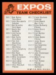1973 Topps Blue Team Checklists  Montreal Expos  Back Thumbnail