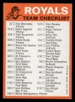 1973 Topps Blue Team Checklists  Kansas City Royals  Back Thumbnail