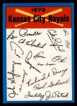 1973 Topps Blue Team Checklists  Kansas City Royals  Front Thumbnail