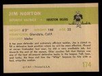 1961 Fleer #174   Jim Norton Back Thumbnail