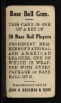 1909 E92 Dockman #18   Topsy Hartsel Back Thumbnail