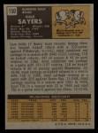 1971 Topps #150   Gale Sayers Back Thumbnail