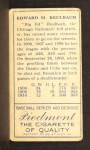 1911 T205 #162   Ed Reulbach Back Thumbnail