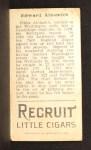 1912 T207 #2  Eddie Ainsmith    Back Thumbnail