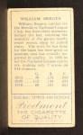 1911 T205 #18   William Bergen Back Thumbnail