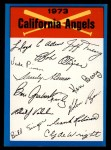 1973 Topps Blue Team Checklists  Califorina Angels  Front Thumbnail