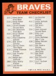 1973 Topps Blue Team Checklists #1   Atlanta Braves Back Thumbnail