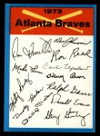 1973 Topps Blue Team Checklists #1   Atlanta Braves Front Thumbnail