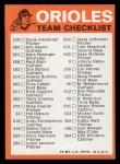 1973 Topps #2  Orioles Team Checklist  Back Thumbnail