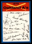 1973 Topps Blue Team Checklists  Oakland Athletics  Front Thumbnail