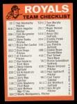 1973 Topps #11  Royals Team Checklist  Back Thumbnail