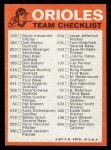 1973 Topps Blue Team Checklists  Baltimore Orioles  Back Thumbnail