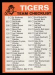 1973 Topps #9  Tigers Team Checklist  Back Thumbnail
