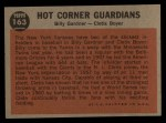 1962 Topps #163 A Hot Corner Guardians  -  Billy Gardner / Clete Boyer Back Thumbnail