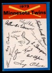 1973 Topps #14  Twins Team Checklist  Front Thumbnail