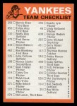 1973 Topps Blue Team Checklists  New York Yankees  Back Thumbnail
