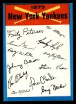 1973 Topps Blue Team Checklists  New York Yankees  Front Thumbnail