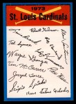 1973 Topps Blue Team Checklists  St. Louis Cardinals  Front Thumbnail