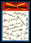 1973 Topps Blue Team Checklists #8   Cleveland Indians Front Thumbnail