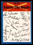 1973 Topps #11  Royals Team Checklist  Front Thumbnail