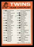 1973 Topps Blue Team Checklists  Minnesota Twins  Back Thumbnail