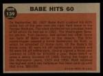1962 Topps #139 DRT Babe Hits 60  -  Babe Ruth  Back Thumbnail