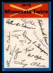 1973 Topps Blue Team Checklists  Minnesota Twins  Front Thumbnail