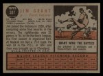 1962 #307  Jim Mudcat Grant  Back Thumbnail